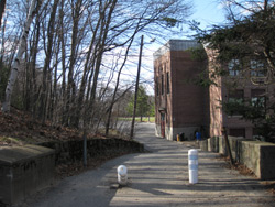 the school and walkway