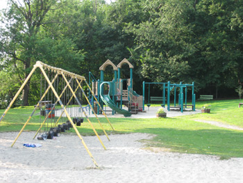 a swingset and larger playscape