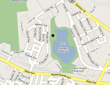 a map showing the location of Rindge Park